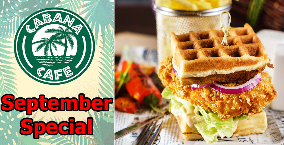 Cabana Chicken and Waffle Sandwich Special- only $7.99
